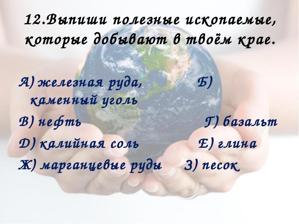 12.Выпиши полезные ископаемые, которые добывают в твоём крае. А) железная руд...