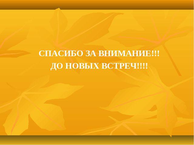 СПАСИБО ЗА ВНИМАНИЕ!!! ДО НОВЫХ ВСТРЕЧ!!!!