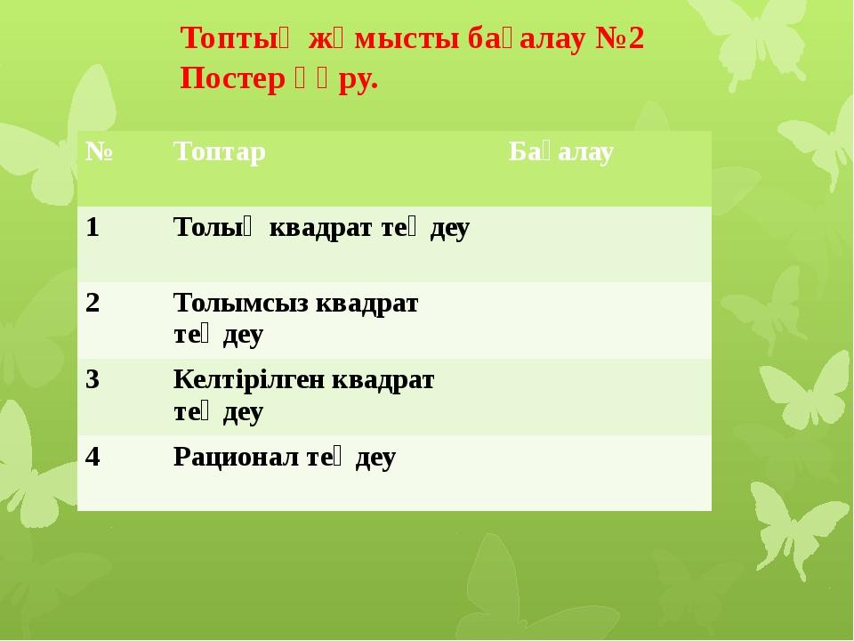 Топтық жұмыс №3 Түбірлері арқылы теңдеу құрың. 5 және -2 -3 және -5 9 және 11...