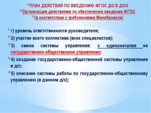 ПЛАН ДЕЙСТВИЙ ПО ВВЕДЕНИЮ ФГОС ДО В ДОО Организация действиями по обеспечению