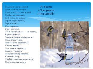 А. Яшин «Покормите птиц зимой» Покормите птиц зимой. Пусть со всех концов К