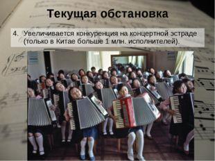 Текущая обстановка Увеличивается конкуренция на концертной эстраде (только в