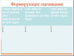 Формирующее оценивание I have learnt a lot of words and expressions on the to