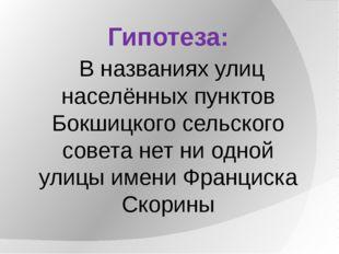 Гипотеза: В названиях улиц населённых пунктов Бокшицкого сельского совета нет