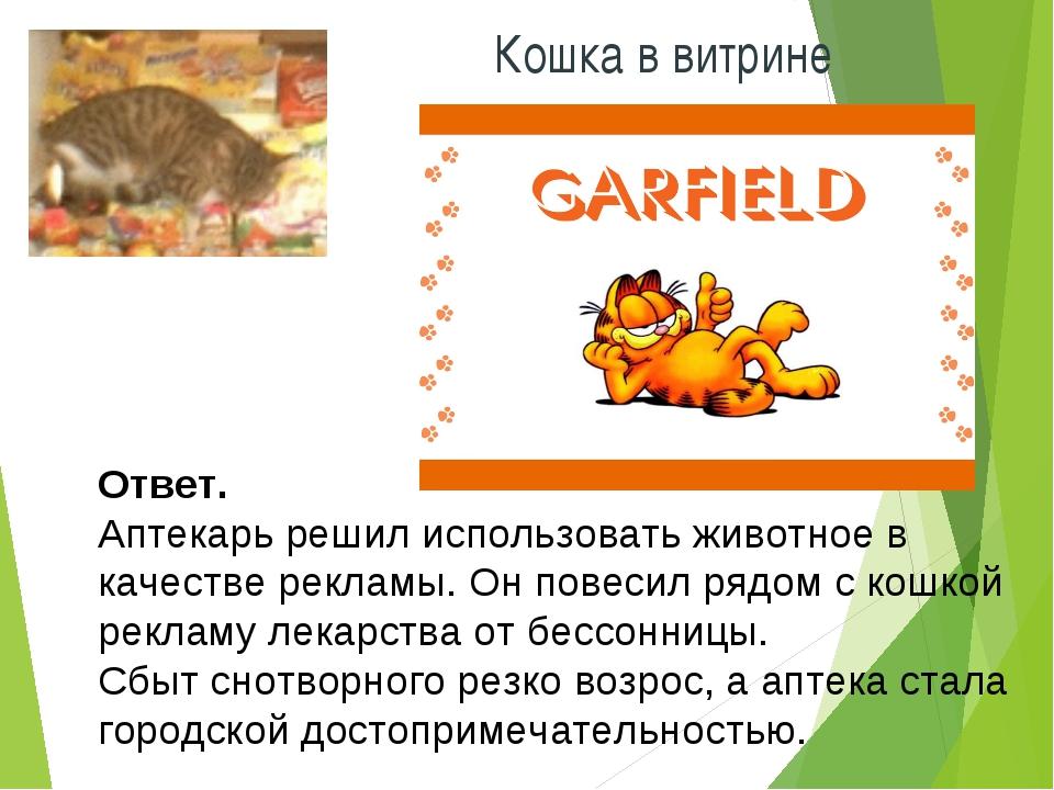 * Кошка в витрине Ответ. Аптекарь решил использовать животное в качестве рекл...