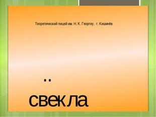 .. свекла Теоретический лицей им. Н. К. Георгиу, г. Кишинёв