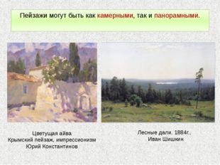 Пейзажи могут быть как камерными, так и панорамными. Цветущая айва Крымский п
