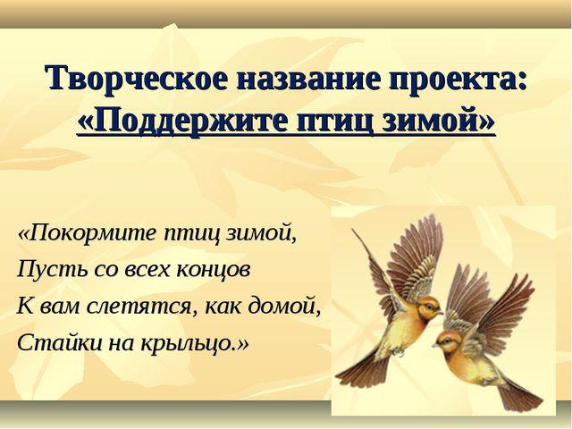 Творческое название проекта: «Поддержите птиц зимой» «Покормите птиц зимой,...