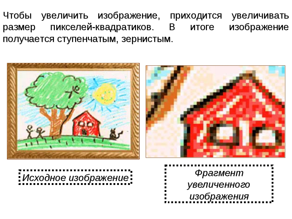 Чтобы увеличить изображение, приходится увеличивать размер пикселей-квадратик...