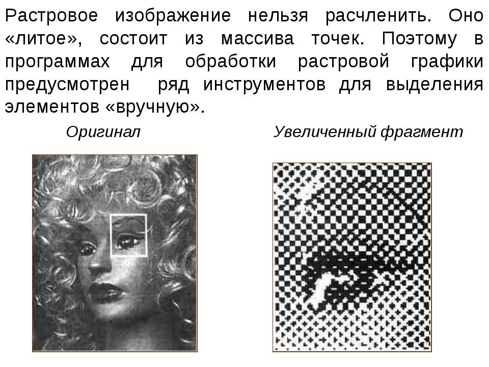 Растровое изображение нельзя расчленить. Оно «литое», состоит из массива точе...