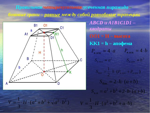 Правильная четырехугольная усеченная пирамида – боковые грани – равные между...