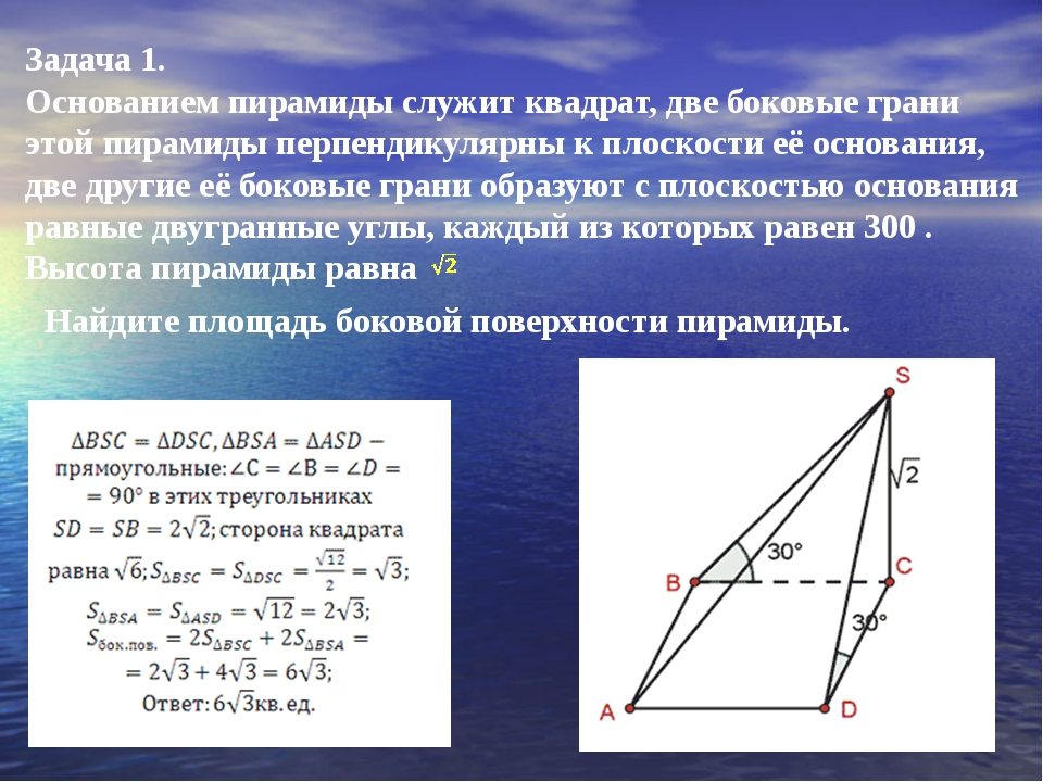 Задача 1. Основанием пирамиды служит квадрат, две боковые грани этой пирамиды...