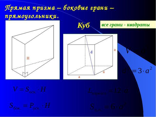 Прямая призма – боковые грани – прямоугольники. Куб а а а d все грани - квадр...