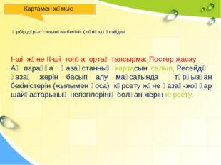 Картамен жұмыс І-ші және ІІ-ші топқа ортақ тапсырма: Постер жасау Ақ параққа