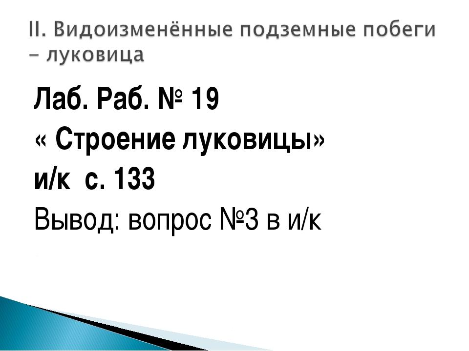 Лаб. Раб. № 19 « Строение луковицы» и/к с. 133 Вывод: вопрос №3 в и/к