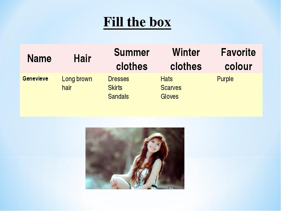 Fill the box NameHairSummer clothesWinter clothesFavorite colour Geneviev...