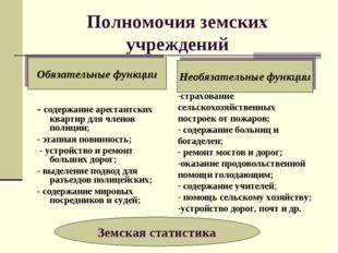 Полномочия земских учреждений - содержание арестантских квартир для членов по