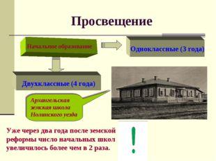 Просвещение Начальное образование Одноклассные (3 года) Двухклассные (4 года)