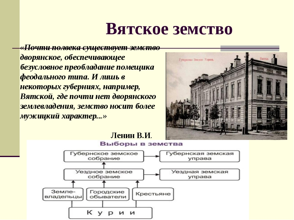 Вятское земство «Почти полвека существует земство дворянское, обеспечивающее...