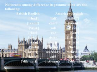 Noticeable among difference in pronunciation are the following: British Engli