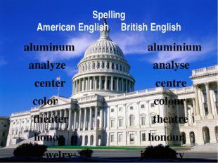 Spelling American English British English aluminum aluminium analyze analyse