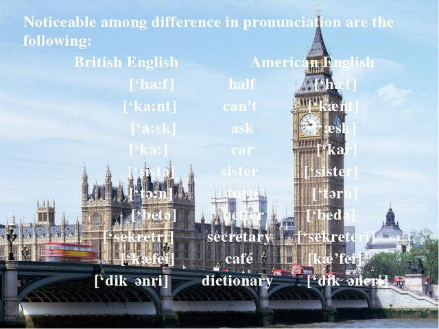 Noticeable among difference in pronunciation are the following: British Engli...