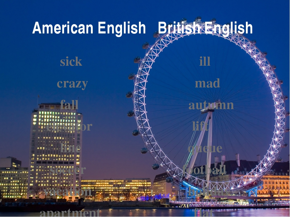 American English British English sick ill crazy mad fall autumn elevator lift...