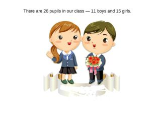 There are 26 pupils in our class — 11 boys and 15 girls.