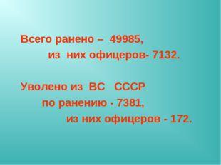 Всего ранено – 49985, из них офицеров- 7132. Уволено из ВС СССР по ранению -