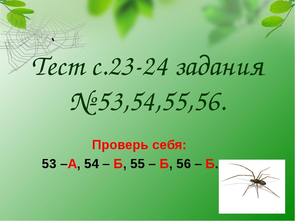 Тест с.23-24 задания № 53,54,55,56. Проверь себя: 53 –А, 54 – Б, 55 – Б, 56...