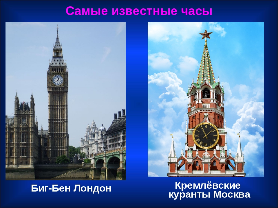 Биг-Бен Лондон Самые известные часы Кремлёвские куранты Москва
