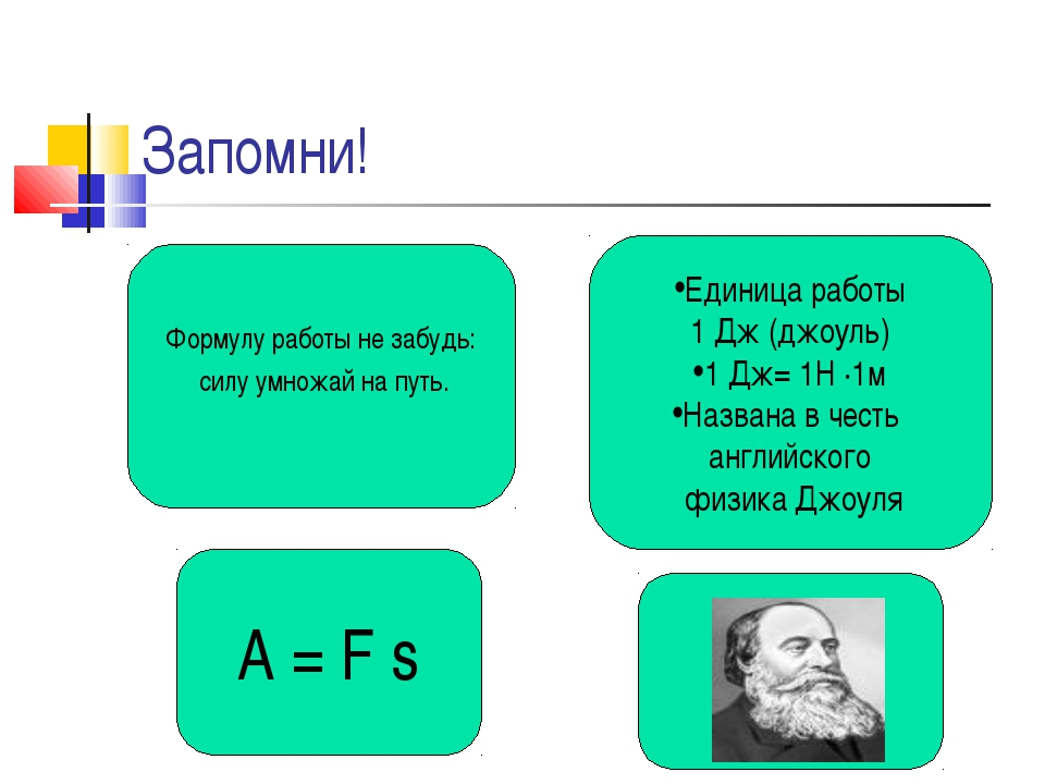 Запомни! A = F s Формулу работы не забудь: силу умножай на путь. Единица рабо...