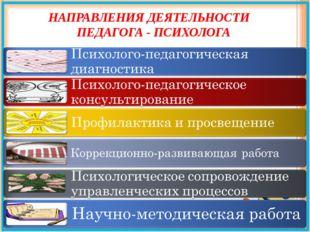 НАПРАВЛЕНИЯ ДЕЯТЕЛЬНОСТИ ПЕДАГОГА - ПСИХОЛОГА