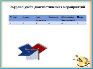 Журнал учёта диагностических мероприятий № п/пДатаКод клиентаВозрастМетод