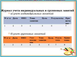 УЧЁТНАЯ ДОКУМЕНТАЦИЯ а) учет индивидуальных занятий б) учет групповых заняти