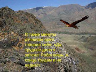 В такие минуты отчаяния орёл говорил себе: «Да, трудное дело я затеял! Работа