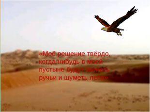 «Моё решение твёрдо, когда-нибудь в моей пустыне будут звенеть ручьи и шуметь
