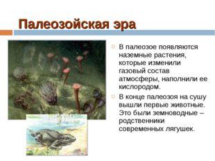 Палеозойская эра В палеозое появляются наземные растения, которые изменили га