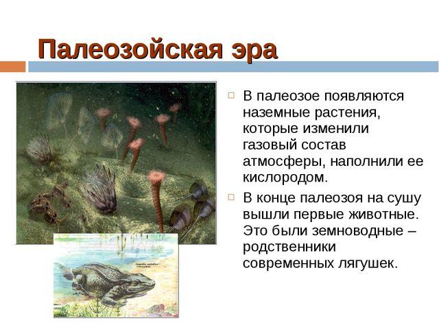 Палеозойская эра В палеозое появляются наземные растения, которые изменили га...