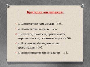 Критерии оценивания: 1. Соответствие теме декады – 5 б. 2. Соответствие возра