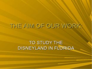 THE AIM OF OUR WORK: TO STUDY THE DISNEYLAND IN FLORIDA