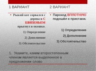 1. Укажите, каким второстепенным членом является выделенное в предложении сло