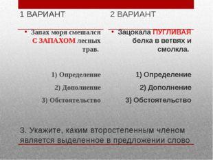 3. Укажите, каким второстепенным членом является выделенное в предложении сло