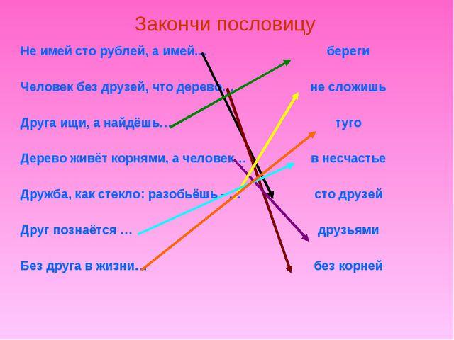 Закончи пословицу Не имей сто рублей, а имей…береги Человек без друзей, что...
