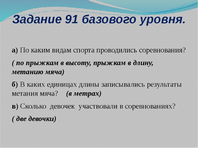 Задание 91 базового уровня. а) По каким видам спорта проводились соревнования...