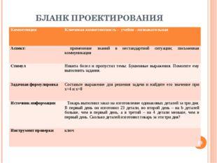 БЛАНК ПРОЕКТИРОВАНИЯ * КомпетенцияКлючевая компетентность - учебно - познав