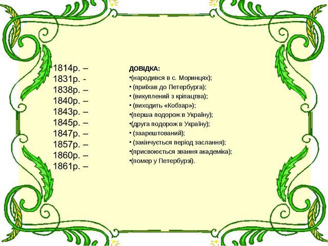 ДОВІДКА: (народився в с. Моринцях); (приїхав до Петербурга); (викуплений з кр...