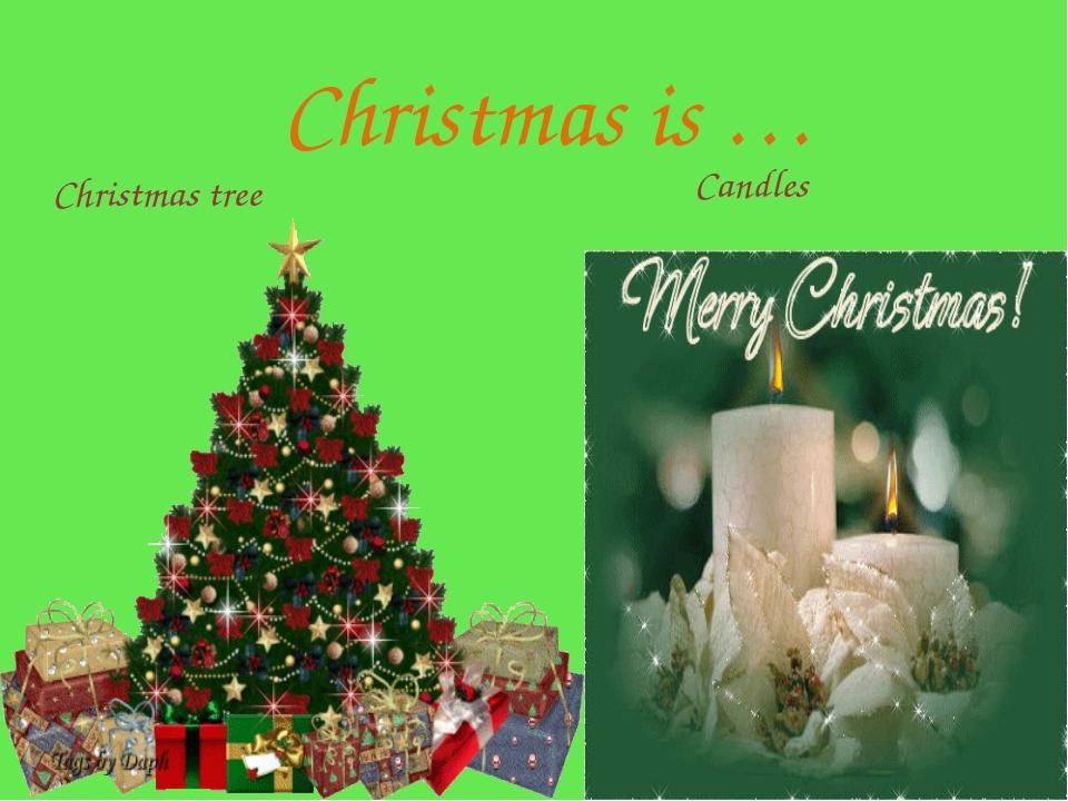Christmas is … Christmas tree Candles