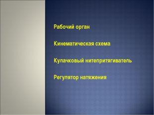 Рабочий орган Кинематическая схема Кулачковый нитепритягиватель Регулятор нат