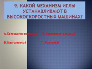 А. Кривошипно-ползунный Б. Кривошипно-шатунный В. Многозвенный Г. Аксильный